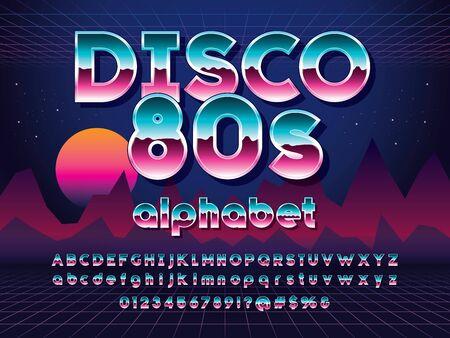 Vector of 80s stylized retro alphabet design with metallic effect