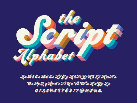 Vector of groovy hippie style alphabet design Illustration