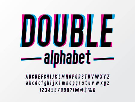 double alphabet Overprint Colors alphabet design with uppercase, lowercase, numbers and symbols Stock Vector - 129069345