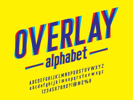 overlay alphabet Overprint Colors alphabet design with uppercase, lowercase, numbers and symbols