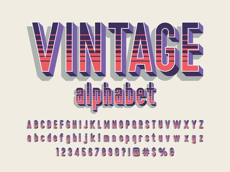 vintage alphabet Retro style alphabet design with uppercase, lowercase, number and symbols Illustration