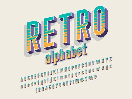 Retro alphabet style alphabet design with uppercase, lowercase, number and symbols Stock Vector - 129069346