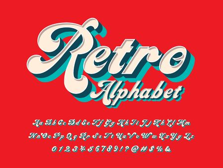 retro alphabet of groovy hippie style alphabet design