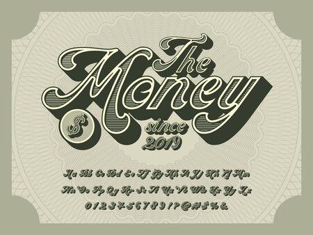 the money alphabet 3D retro money alphabet design with decorative elements Stock Vector - 129069371