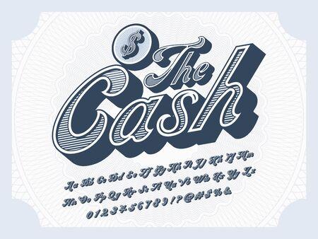 the cash alphabet 3D retro money alphabet design with decorative elements