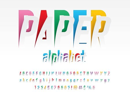 paper alphabet Peel off style alphabet design with uppercase, lowercase, numbers and symbols Illustration