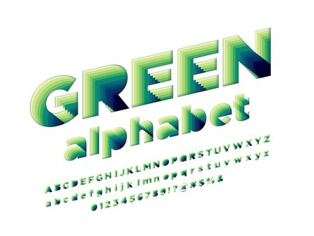 Paper green alphabet cut style alphabet design with uppercase, lowercase, numbers and symbols