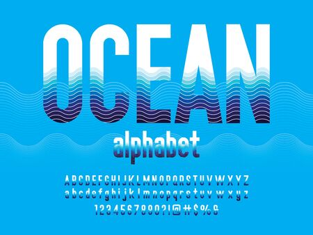 ocean alphabet Wave style alphabet design with uppercase, lowercase, numbers and symbols Illustration