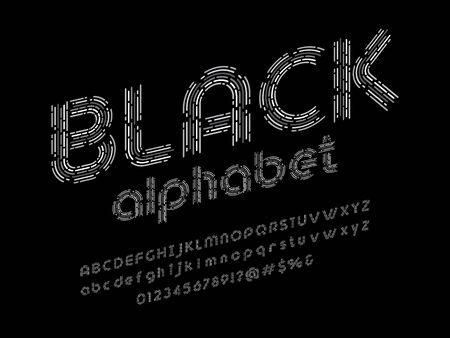 black alphabet monotone line style alphabet design with uppercase, lowercase, numbers and symbols Illustration