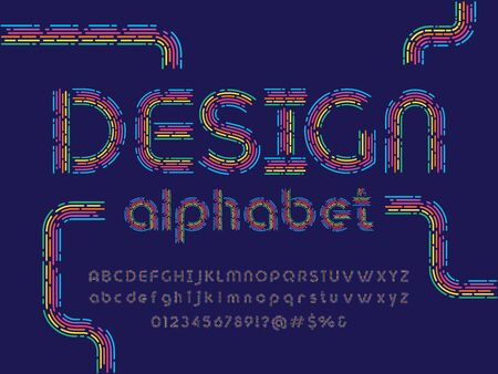 design alphabet colorful line style alphabet design with uppercase, lowercase, numbers and symbols Illustration