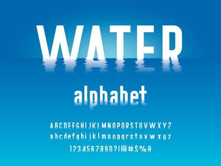 water alphabet ripple style alphabet design with uppercase, lowercase, numbers and symbols