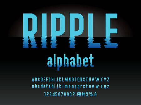 water ripple style alphabet design with uppercase, lowercase, numbers and symbols