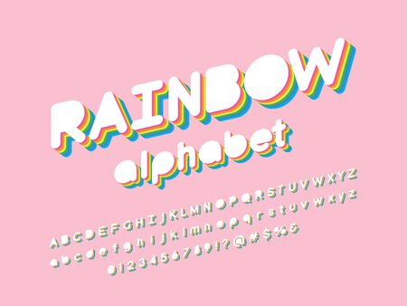 rainbow alphabet colorful stylized alphabet design with uppercase, lowercase, numbers and symbol