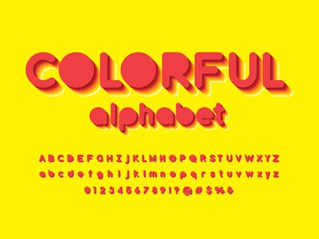 colorful stylized alphabet design with uppercase, lowercase, numbers and symbol Illustration