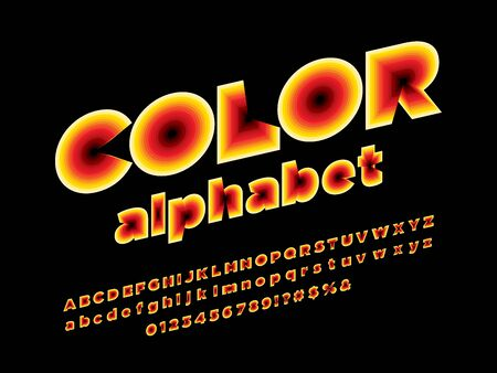 color layered style alphabet design with uppercase, lowercase, numbers and symbols