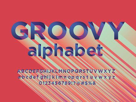 groovy colorful 3D stylized alphabet design Illustration