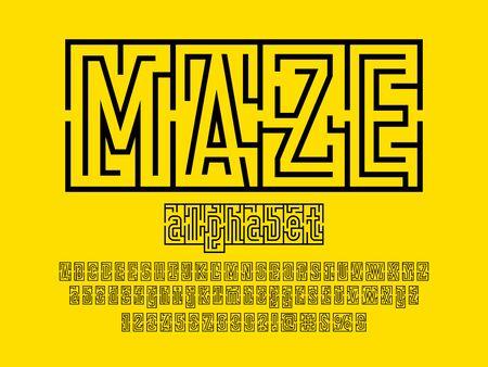 maze text of modern abstract maze style alphabet design