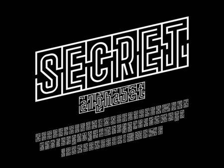 text secret maze of modern abstract maze style alphabet design
