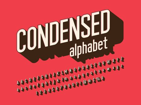 text condensed 3D style alphabet design with uppercase, lowercase, number and symbols Illustration