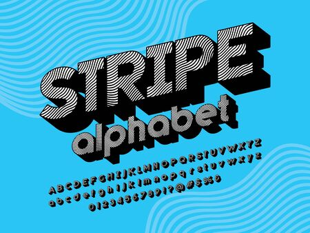 text Striped retro style alphabet design with uppercase, lowercase, numbers and symbol Illustration