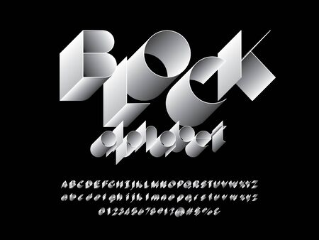 text block of modern abstract alphabet design with uppercase, lowercase, numbers and symbols Illustration