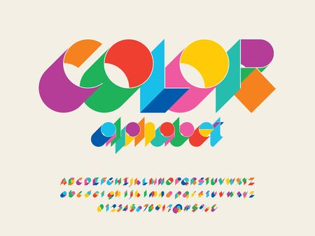 text Color stylized alphabet design with uppercase, lowercase, numbers and symbols Illustration