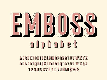 text emboss Retro style alphabet design with uppercase, lowercase, numbers and symbol