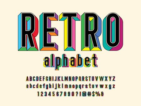 text Retro style embossed alphabet design with uppercase, lowercase, numbers and symbol