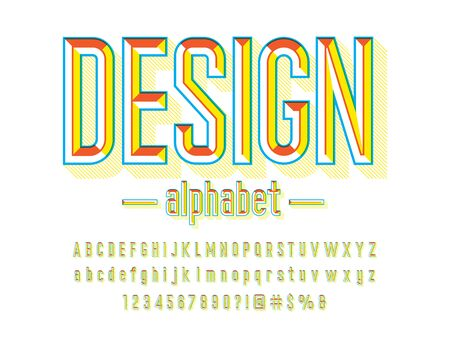 Chisel style alphabet design with uppercase, lowercase, numbers and symbols