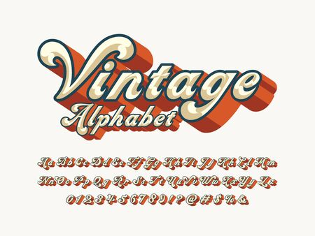 vintage text of groovy hippie style alphabet design