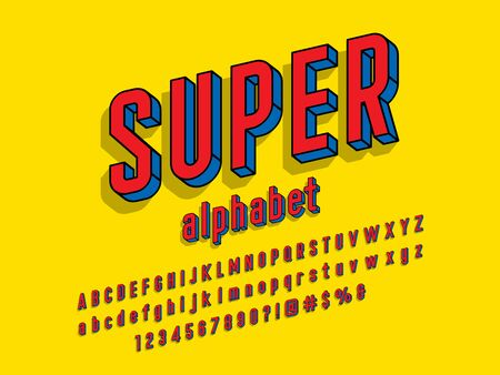 Superhero comic style vector font with uppercase, lowercase, numbers and symbols
