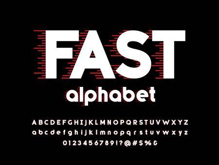 Alfabeto in stile velocità con lettere maiuscole, minuscole, numeri e simboli
