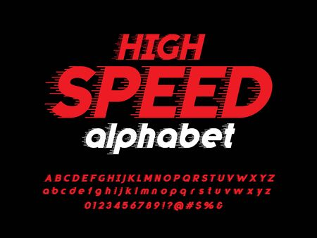 Speed style alphabet design with uppercase, lowercase, numbers and symbol