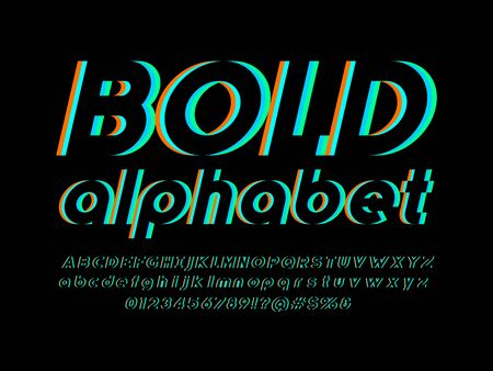 Vector glitch display font design with uppercase, lowercase, numbers and symbol Vektoros illusztráció