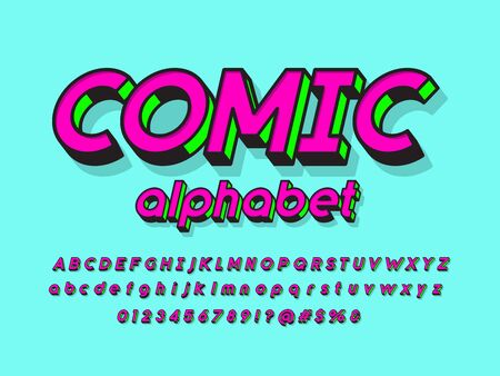 Comic style vector font with uppercase, lowercase, numbers and symbols Ilustração