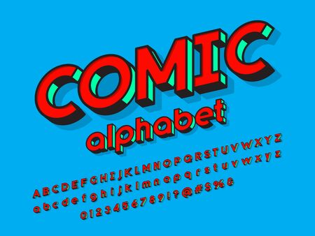 Comic style vector font with uppercase, lowercase, numbers and symbols Illustration