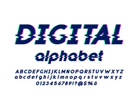 Vector glitch display font with uppercase, lowercase, numbers and symbols
