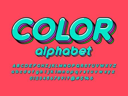 Colorful stylized alphabet design with uppercase, lowercase, numbers and symbols Ilustração