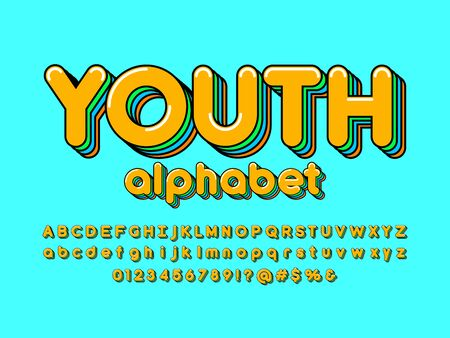Colorful stylized alphabet design with uppercase, lowercase, numbers and symbols Çizim