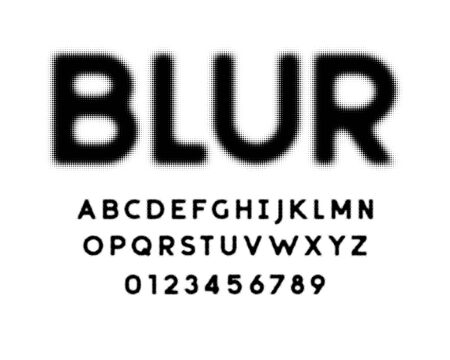 halftone dotted style alphabet design with uppercase, lowercase, numbers and symbols