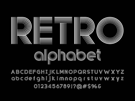 retro text of stylized multi lines alphabet design Ilustração