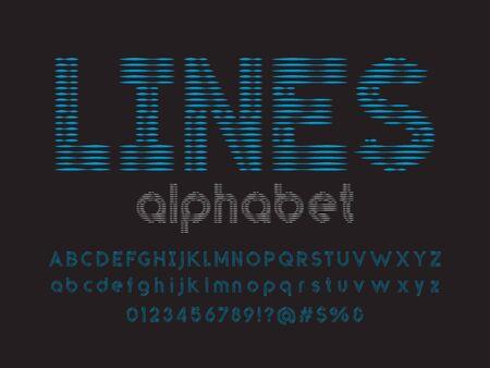 Line style alphabet design with uppercase, lowercase, numbers and symbol Ilustração