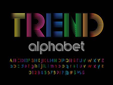 trend text of stylized colorful lines alphabet design
