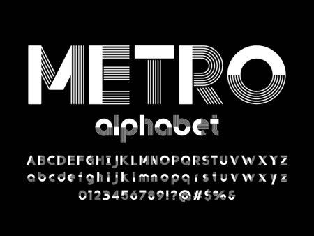 metro text of stylized multi lines alphabet design