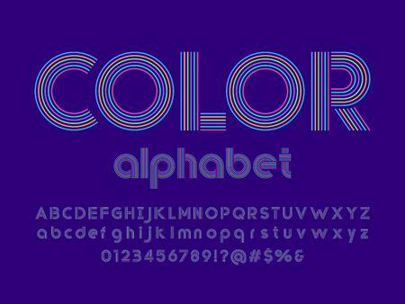 color text of stylized multi lines alphabet design Ilustração