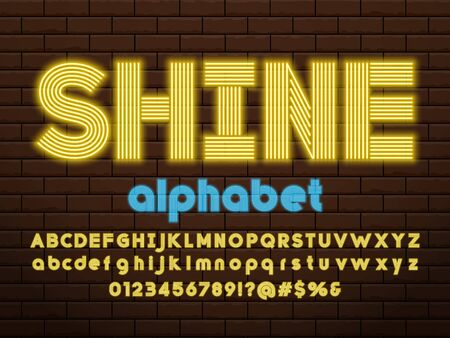 Glowing neon light alphabet design with uppercase, lowercase, numbers and symbol Ilustração