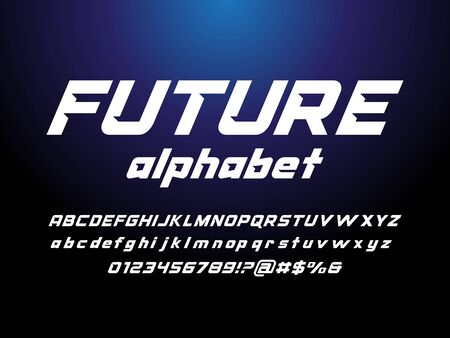 Modern stylized alphabet design with uppercase, lowercase, numbers and symbol