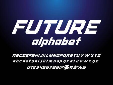 Modern stylized alphabet design with uppercase, lowercase, numbers and symbol Ilustração