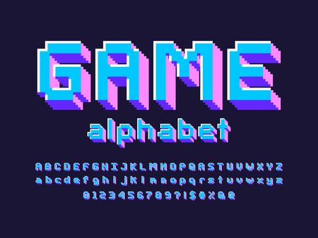 pixel style font with uppercase, lowercase, numbers and symbol