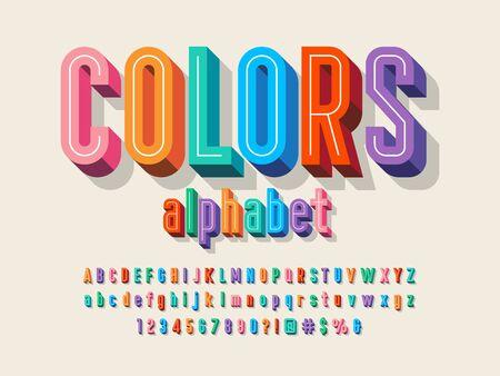 Vector of 3D bold colorful alphabet design